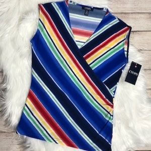 CHAPS Women's Colorful Sleeveless Blouse-NWT